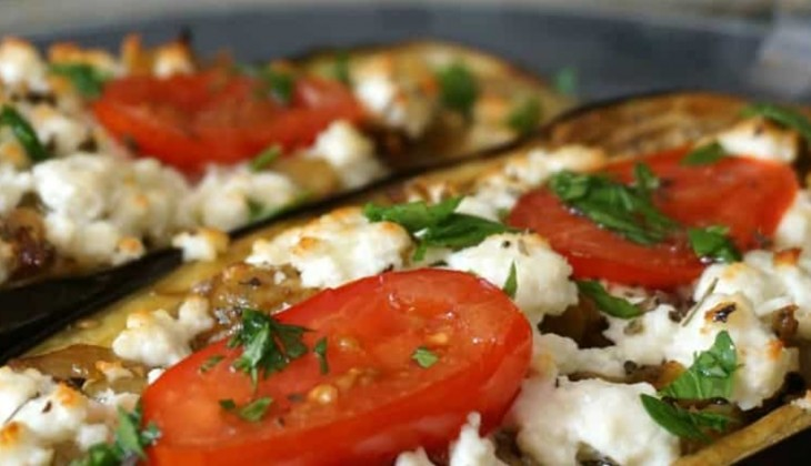 Eggplant stuffed with feta cheese and tomatoes